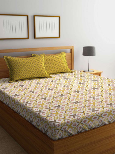 Trident Comfort Living 120 TC Cotton Double Bedsheet with 2 Pillow Covers : Adam Brown - SWHF