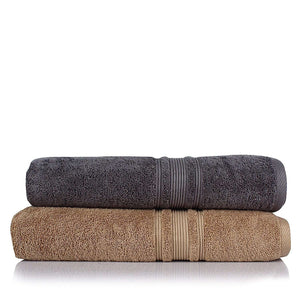 Turkish Bath 710 GSM Bath Towel: Beige and Grey - SWHF