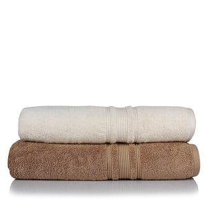 Turkish Bath 710 GSM Bath Towel: Beige and White - SWHF