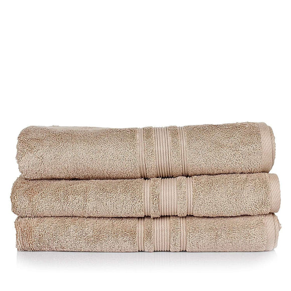 Turkish Bath 710 GSM Bath Towel Set of 3: Beige - SWHF