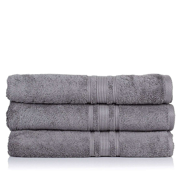 Turkish Bath 710 GSM Bath Towel Set of 3: Grey - SWHF