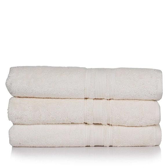 Turkish Bath 710 GSM Bath Towel Set of 3: White - SWHF