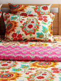 Turu Cotton 5 Piece Bedding and Quilt Set 1 Comforter + 2 Cushion Covers + 2 Pillow Covers:Blossom - SWHF