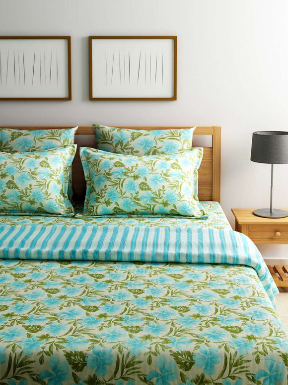 Turu Cotton 5 Piece Bedding and Quilt Set 1 Comforter + 2 Cushion Covers + 2 Pillow Covers:Sea Breeze