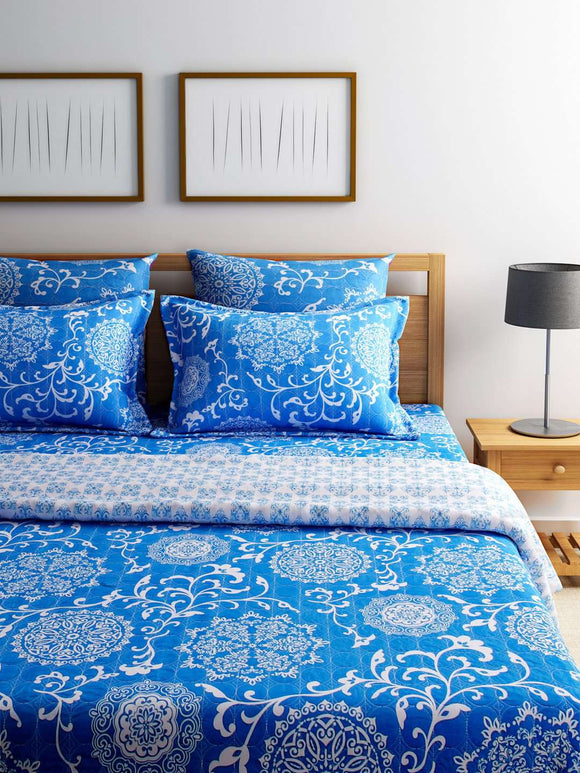 Turu Cotton 5 Piece Bedding and Quilt Set 1 Comforter + 2 Cushion Covers + 2 Pillow Covers:Ming - SWHF