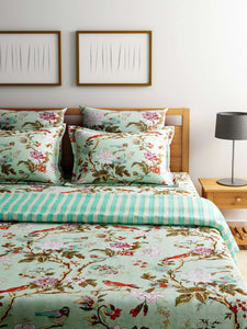 Turu Cotton 5 Piece Bedding and Quilt Set 1 Comforter + 2 Cushion Covers + 2 Pillow Covers: Jade Garden