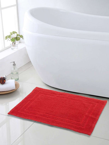 SWHF Premium Cotton Zigzag Bath Mat: Red - SWHF
