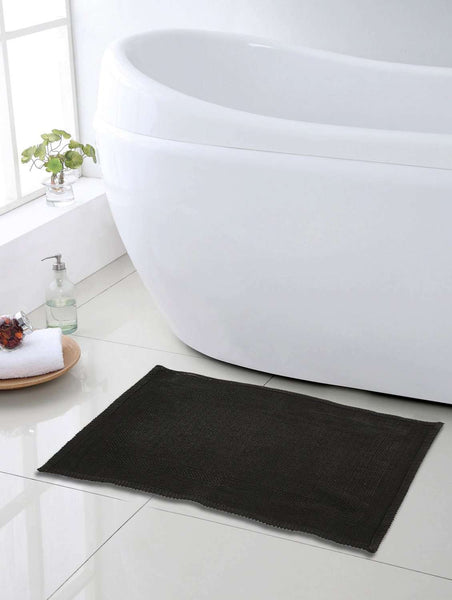 SWHF Premium Cotton Zigzag Bath Mat: Black - SWHF