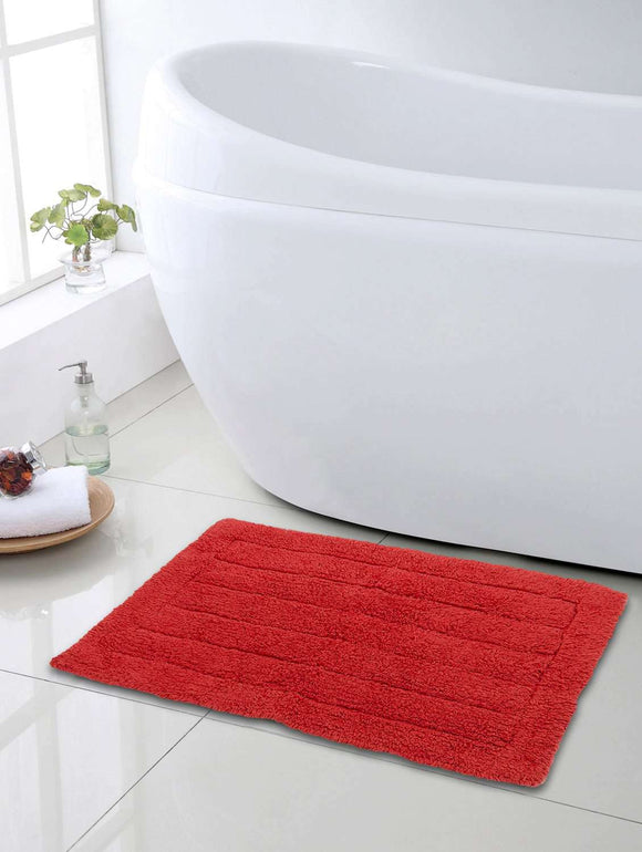 SWHF Premium Cotton Stripes Bath Mat: Red - SWHF