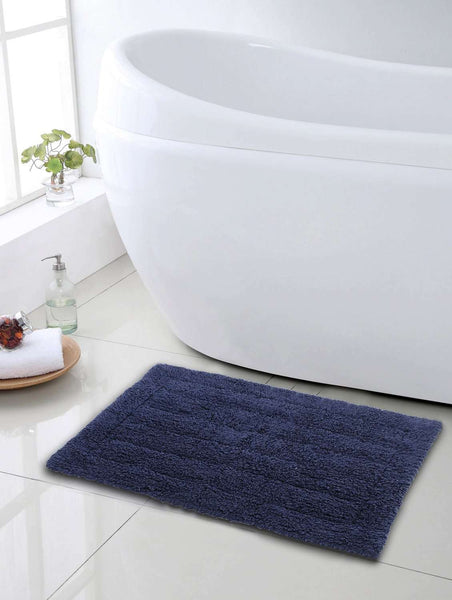 SWHF Premium Cotton Stripes Bath Mat: Blue - SWHF