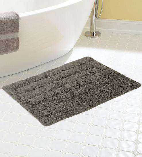 SWHF Premium Cotton Stripe Bath Mat: Grey - SWHF