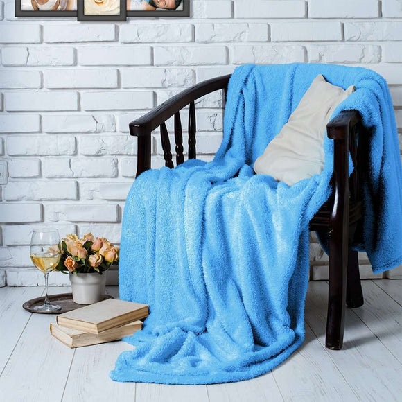 SWHF French Fleece Single Bed Blanket:Blue - SWHF