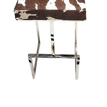 Load image into Gallery viewer, SWHF Hair on Leather Stool with Stainless Steel Legs : Brown
