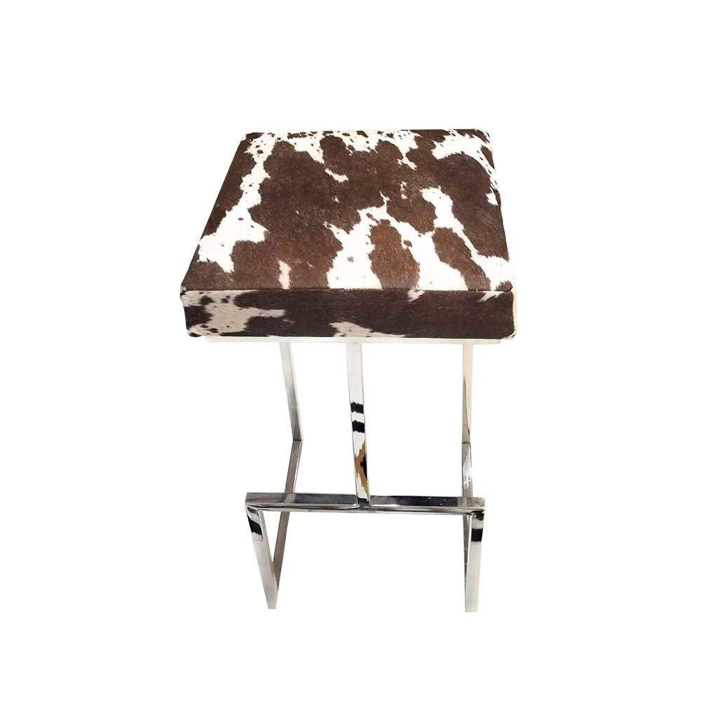 SWHF Hair on Leather Stool with Stainless Steel Legs : Brown