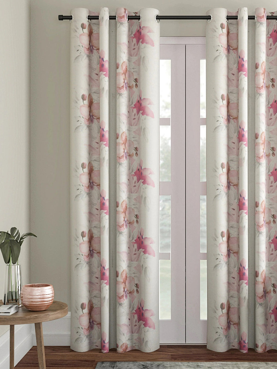 SWHF Floral Pink & Off-White Single Door Curtain
