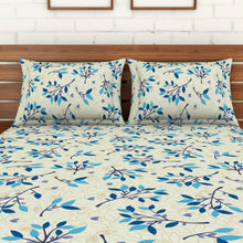 Load image into Gallery viewer, <h4>Spaces 104 TC Cotton Double Bed Sheet with 2 Pillow Covers (Blue)</h4>