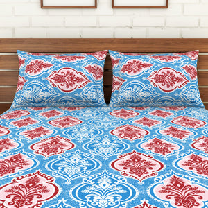 <h4>Spaces 104 TC Cotton Double Bed Sheet with 2 Pillow Covers (Blue)</h4>
