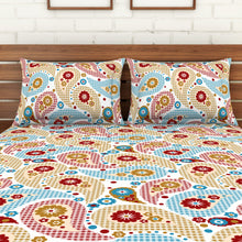 Load image into Gallery viewer, <h4>Spaces 104 TC Cotton Double Bed Sheet with 2 Pillow Covers (Multicolour)</h4>