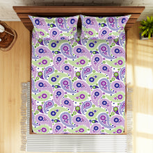 Load image into Gallery viewer, <h4>Spaces 104 TC Cotton Double Bed Sheet with 2 Pillow Covers (Purple)</h4>