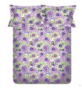 <h4>Spaces 104 TC Cotton Double Bed Sheet with 2 Pillow Covers (Purple)</h4>