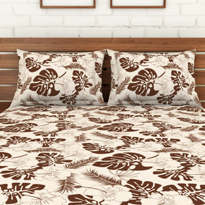 <h4>Spaces 104 TC Cotton Double Bed Sheet with 2 Pillow Covers (Brown)</h4>