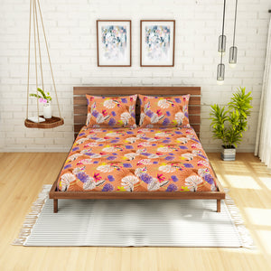 <h4>Spaces 104 TC Cotton Double Bed Sheet with 2 Pillow Covers (Orange)</h4>