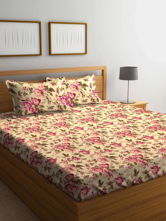 SWHF British Country 100 % Cotton King Size Bedsheet With Two Pillow Cover : Floral - SWHF