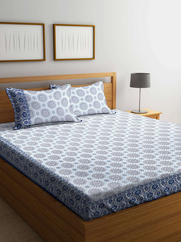 SWHF Mughal White 100 % Cotton Double Bedsheet With Two Pillow Cover : Abstract - SWHF