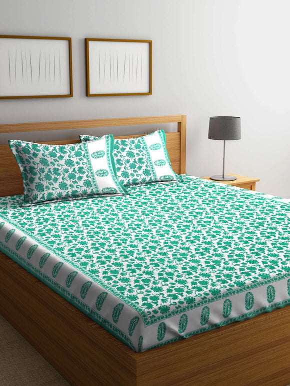 Chic Home Mughal White 100 % Cotton Double Bedsheet With Two Pillow Cover : Floral - SWHF