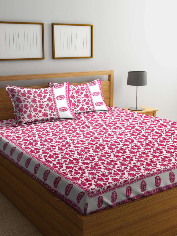 SWHF Mughal White 100 % Cotton Double Bedsheet With Two Pillow Cover : Floral - SWHF