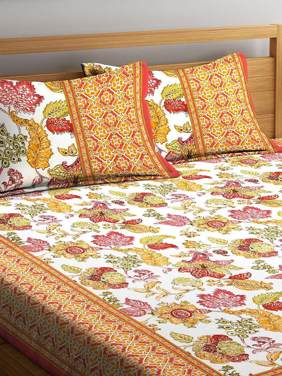 SWHF Premium Cotton Printed Double Bed Sheet with 2 Pillow Covers: Orange - SWHF