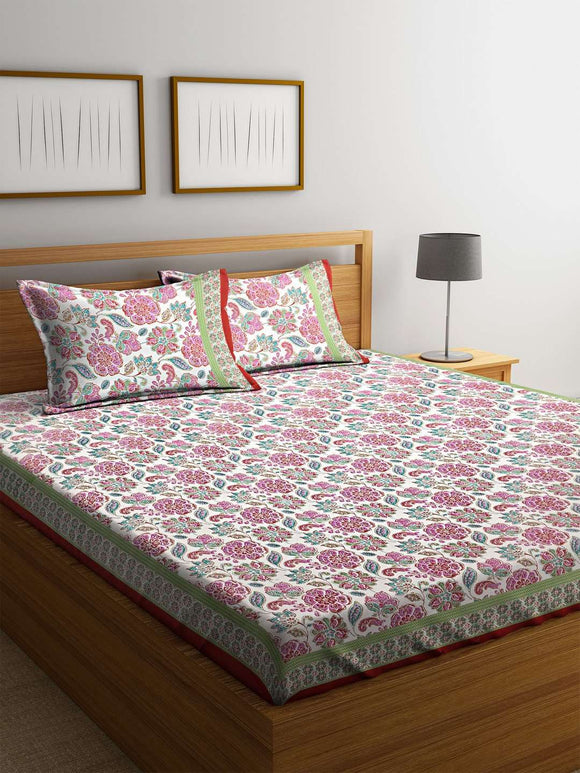 Chic Home Premium Cotton Printed Double Bed Sheet with 2 Pillow Covers : Red - SWHF