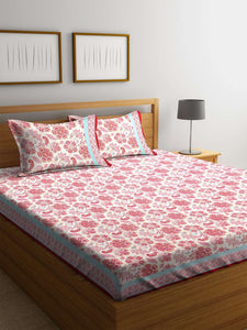 SWHF Premium Cotton Printed Double Bed Sheet with 2 Pillow Covers: Pink - SWHF