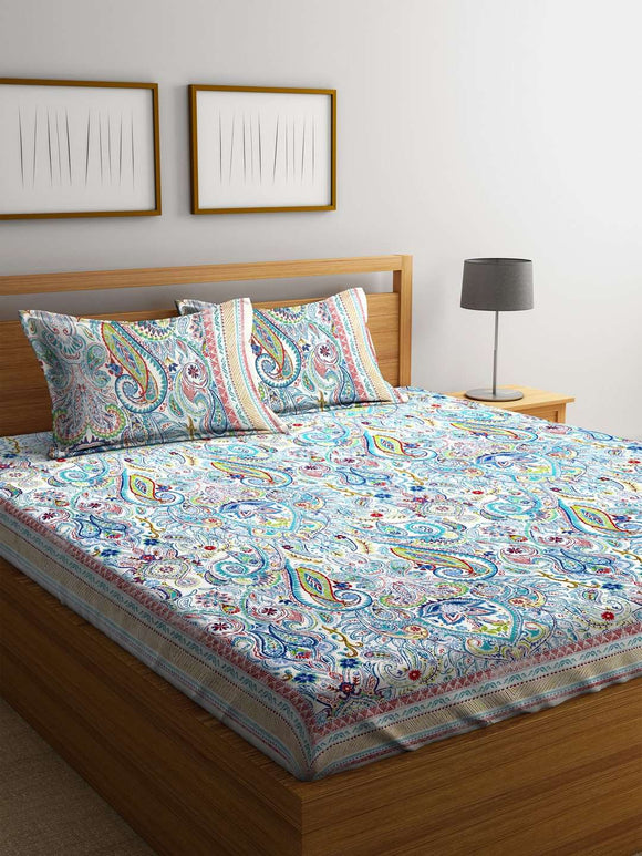 SWHF Premium Cotton Printed Double Bed Sheet with 2 Pillow Covers: Blue - SWHF