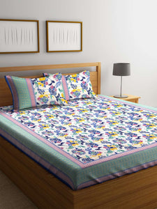SWHF Premium Cotton Printed Double Bed Sheet with 2 Pillow Covers: Purple - SWHF