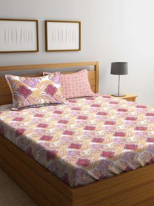 SWHF Premium Cotton Printed King Bed Sheet with 2 Pillow Covers: Purple - SWHF