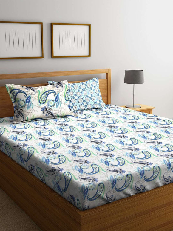 SWHF Premium Cotton Printed King Bed Sheet with 2 Pillow Covers: Blue - SWHF
