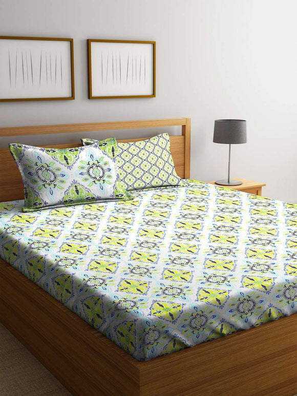 SWHF Premium Cotton Printed King Bed Sheet with 2 Pillow Covers: Green - SWHF