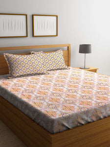SWHF Premium Cotton Printed King Bed Sheet with 2 Pillow Covers: Orange - SWHF