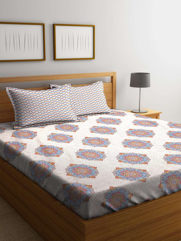 SWHF Premium Cotton Printed King Bed Sheet with 2 Pillow Covers: White - SWHF