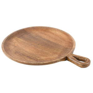 SWHF Pure Wood Round Pizza and Cheese Platter Serving Tray - SWHF