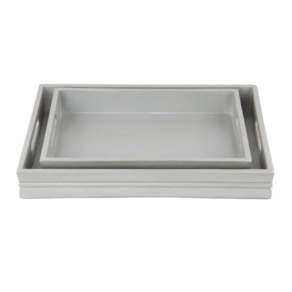 SWHF Pure Wood Platter & Serving Tray Set of 2: Grey