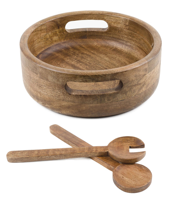 SWHF Pure Wood Platter Salad Bowl and Mixing Bowl with Server Set