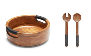 SWHF Pure Wood Platter Salad Bowl and Mixing Bowl with Server Set Bowl Spoon Serving Set (Pack of 3) - SWHF