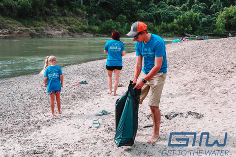 Get to the Water DAY volunteers cleaning the Guadalupe River.