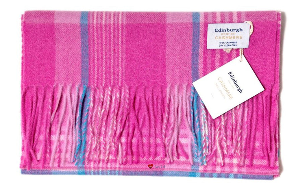 Edinburgh Cashmere Scarf Pink Blue check
