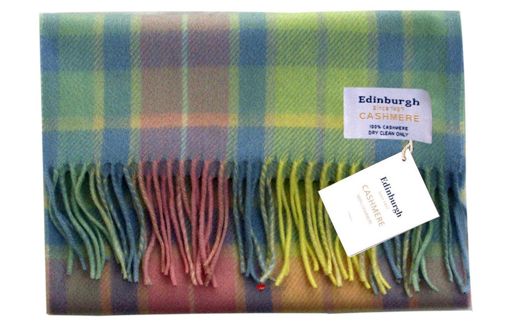 Edinburgh Cashmere Scarf Light Blue Pink Green