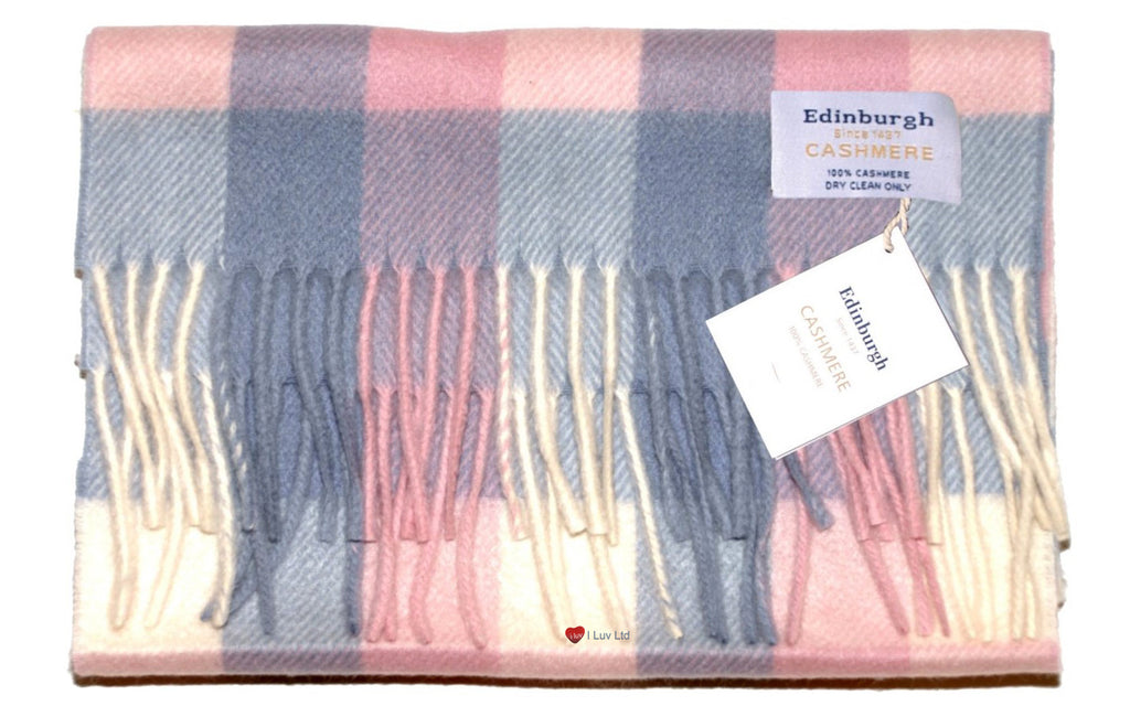 Edinburgh Cashmere Scarf Light Blue Light Pink
