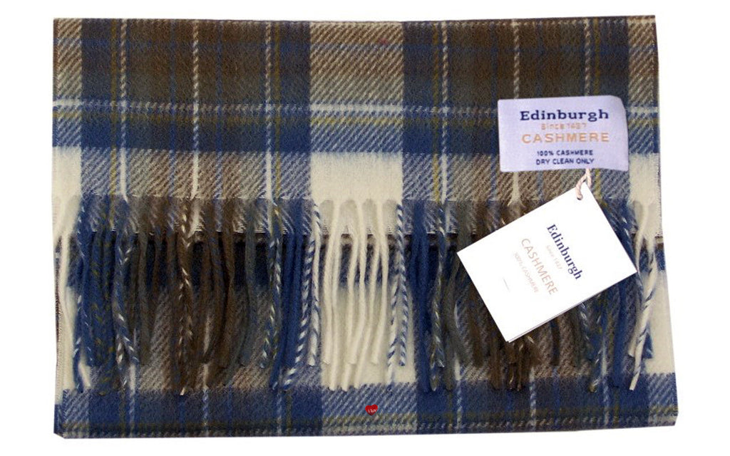 Edinburgh Cashmere Scarf Stewart Muted Blue