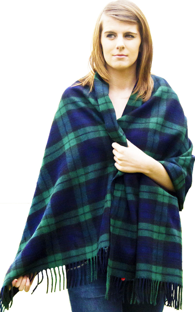 Serape Cape Lambswool Black Watch Tartan